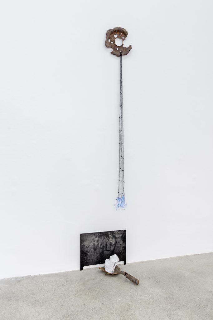 Sophie Jung, Mourning Fail, 2017, Rusty wheel (cap), mourning veil, 3D printed penises, rusty shovel, tennis sock, plastic string, perspex, dust, dimensions variable. Photography: www.kunst-dokumentation.com. Courtesy: Sophie Tappeiner