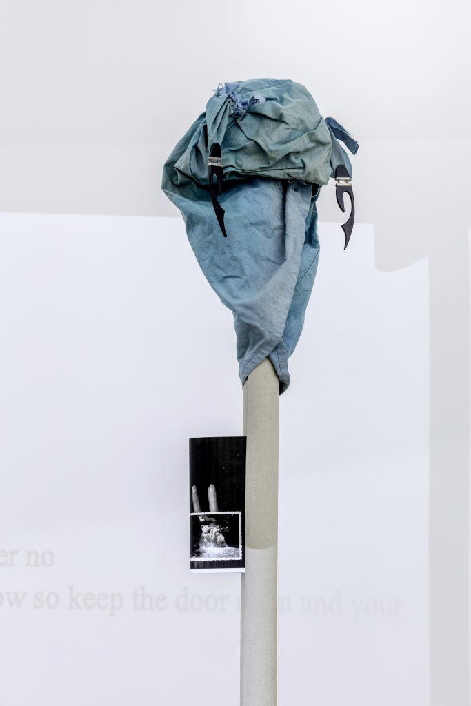 Sophie Jung, Spanische Hofreitschule (detail), 2017 Horse mask, cardboard tube, xerox, acid bottle, stack of crime books, dimensions variable. Photography: www.kunst-dokumentation.com. Courtesy: Sophie Tappeiner