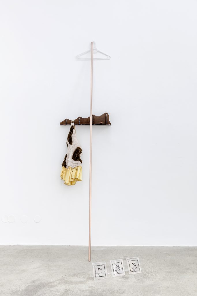 "Sophie Jung, In With The Metrics, 2017, Coathanger, cornershelf, massage ball, costume ""prehistory"", copper pipe, CD covers, dimensions variable. Photography: www.kunst-dokumentation.com. Courtesy: Sophie Tappeiner"