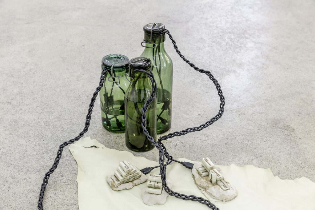 Sophie Jung, High Stakes, 2017, Bülach glass bottles, USB cables, sugar cubes, clay, resin, hide, water, dimensions variable. Photography: www.kunst-dokumentation.com. Courtesy: Sophie Tappeiner